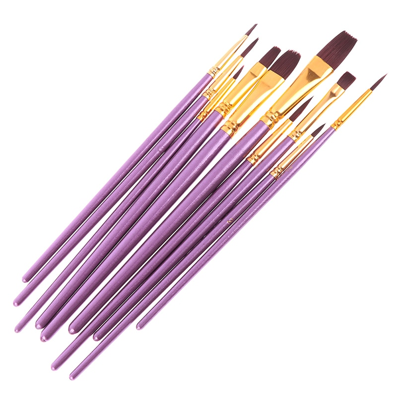 artist paint brushes 12 pieces nylon art paint set with 2 piece art paint tray pale acrylic acid and oil brush watercolor brush 10pcs/set Blue Purple Artist Paint Brush Set Nylon Hair Watercolor Acrylic Oil Painting Brushes Drawing Art Supplie