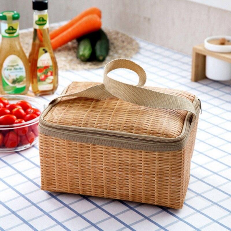 Bolsa de almuerzo de imitación de ratán portátil impermeable a prueba de golpes térmico refrigerador aislado Bento caja llevar bolsas de almacenamiento de Picnic