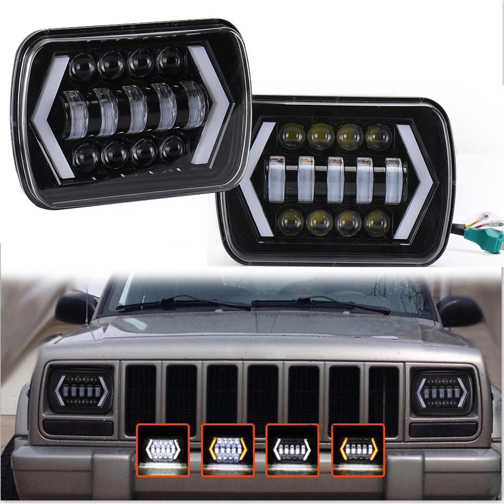 "Lâmpada de farol projetor, alta qualidade, 55w, 7x6 , 5x7"", à prova d água acessórios de luz para carro jeep cherokee xj"