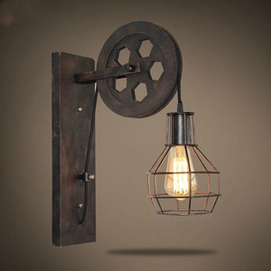 Vintage Cage Pendant Light Pulley Iron Craft Sling Rope Stairs Corridor Wall Lights Stand Lamps Retro Pendant Without Bulb ZM