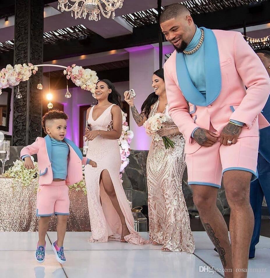 2020 blau und Rosa Groomsmen Anzug Spitze Revers Bräutigam Smoking Herren Hochzeit Anzüge Hochzeit/Prom/Strand/Dance beste Mann Blazer Tux (Jacke