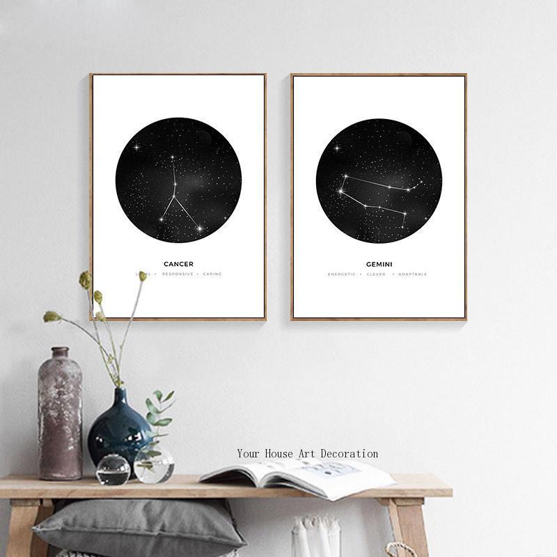 Pintura de lona nórdica, impresiones artísticas de pared en blanco y negro, signo de astrología geométricos minimalistas, cuadros modulares de decoración para habitación de niños