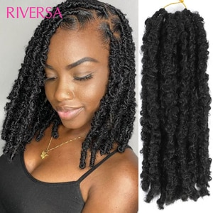 Faux Butterfly Locs Crochet Hair 12Inch 3- 4Packs Pre-Looped Distressed Locs Crochet Braids Soft Locs Papillons Cheveux 6 Colors