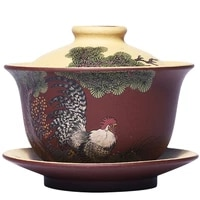 yixing guogong handmade dajidali purple clay covered bowl hand painted raw ore purple clay duanni tea set with cover