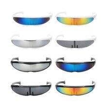 Funny Plastic Color Mirrored Single Lens Visor Sunglasses Cyclops Cosplay Glasses