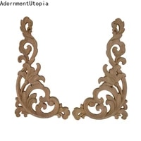 european antique decor exquisite wood applique wood frame onlay oval rose long floral rubber wood furniture window corner