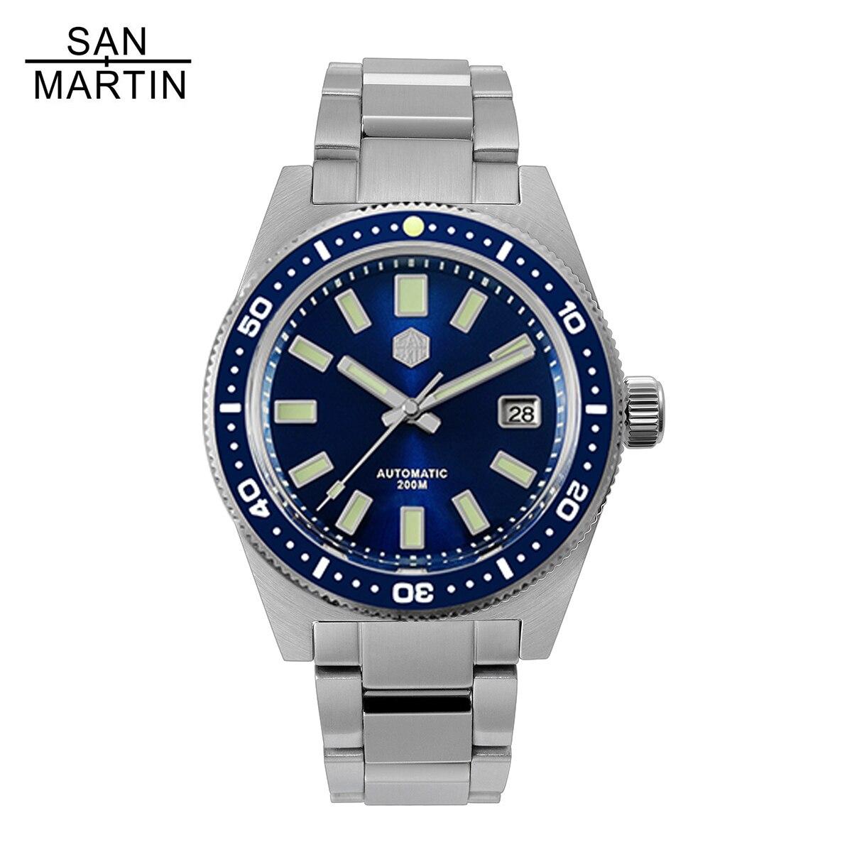 سان مارتن 62MAS V4 الفولاذ المقاوم للصدأ الغوص التلقائي الرجال الساعات الياقوت 200 متر مقاوم للماء مضيئة ساعة معصم Relojes الفقرة Hombre