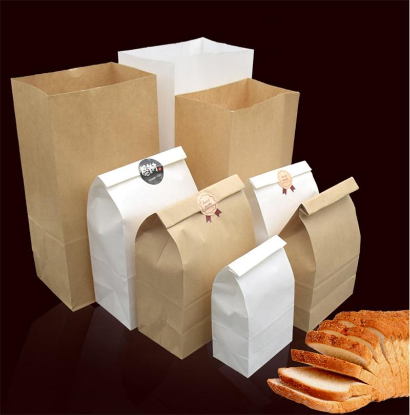 100 sacos de alimento de papel kraft dos pces que empacotam o cozimento revestido do filme à prova de óleo pão torrado takeaway sacos feitos à mão do pacote