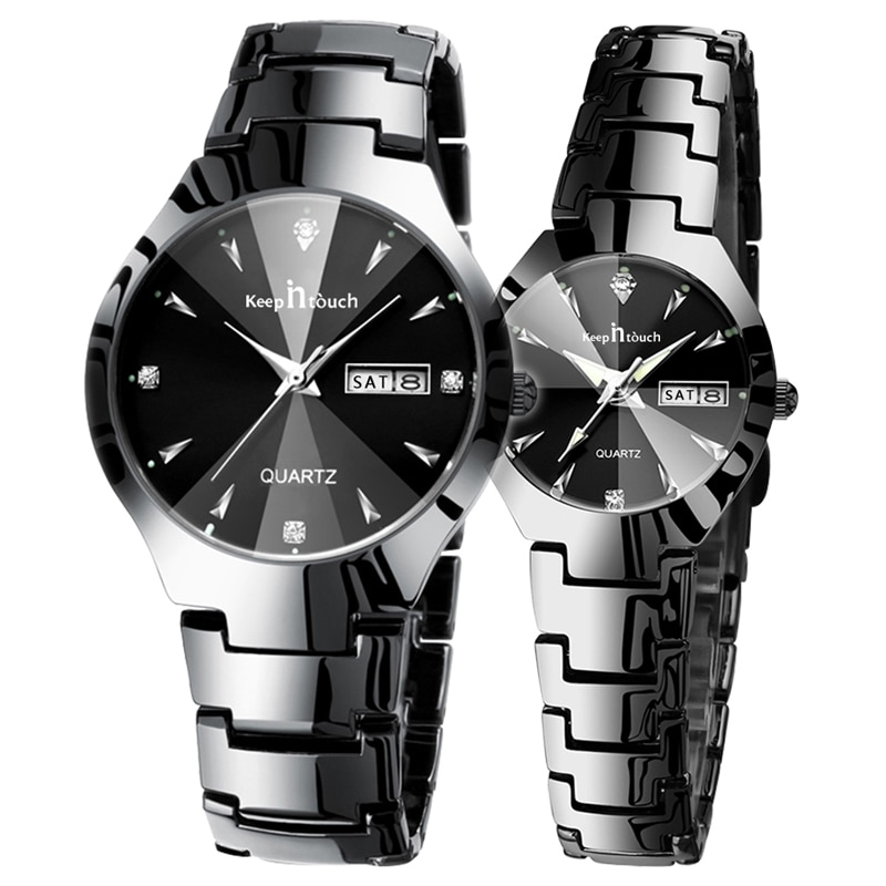 Lover Watches Fashion Week Calendar Quartz Wrist Watch For Two Lovers Luxury Business Men Watch For Women Watches Gift Couple