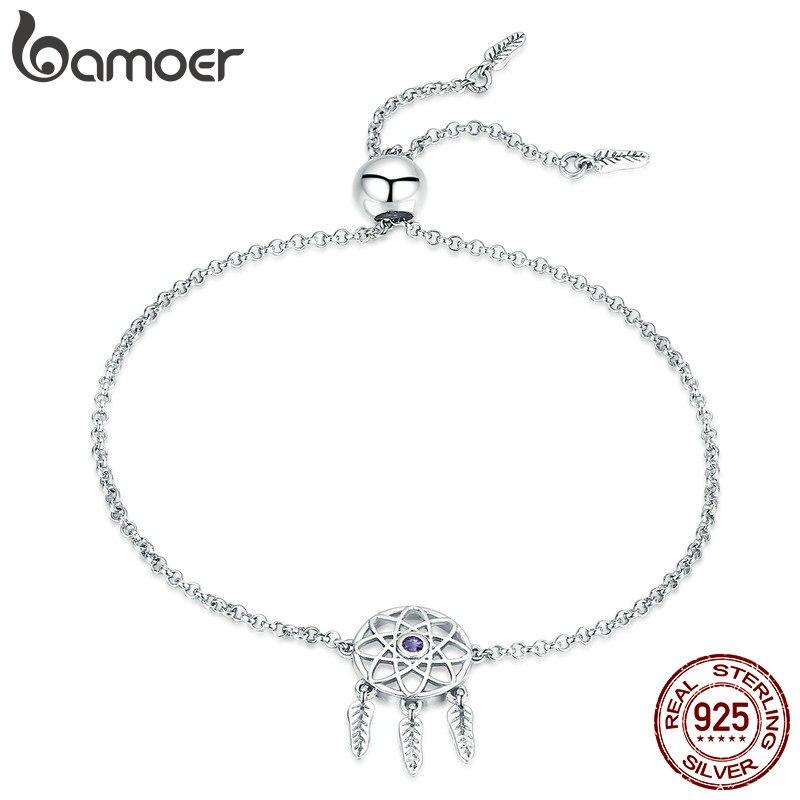 Bamoer moda 100% 925 prata esterlina sonho apanhador link corrente pulseiras do vintage para as mulheres autênticas jóias de prata scb111