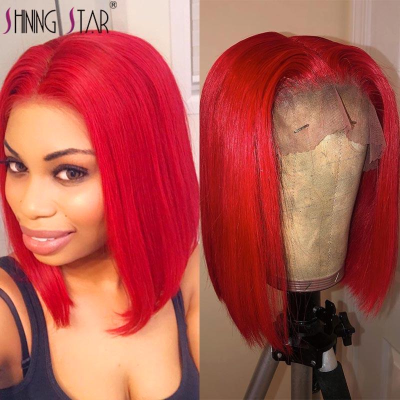 Cheap Straight Bob Wig Hd Transparent Lace Front Wig Burgundy Red 99J Short Bob Lace Front Human Hair Wigs Brazilian 150 Bob Wig