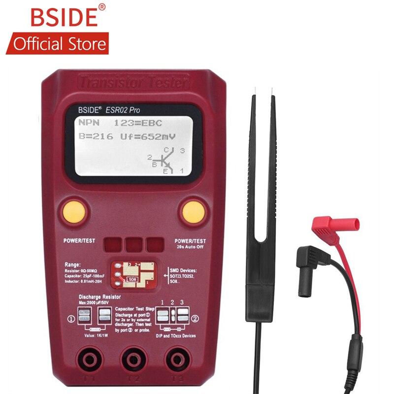 BSIDE цифровой тестер транзисторов SMD компоненты диодный триодный резистор конденсатор индуктор измеритель ESR мультиметр с пинцетом