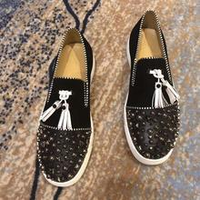 Luxury Fashion designer wedding Shoes for Men black tassels with rivets flat shoes Man Party dress F