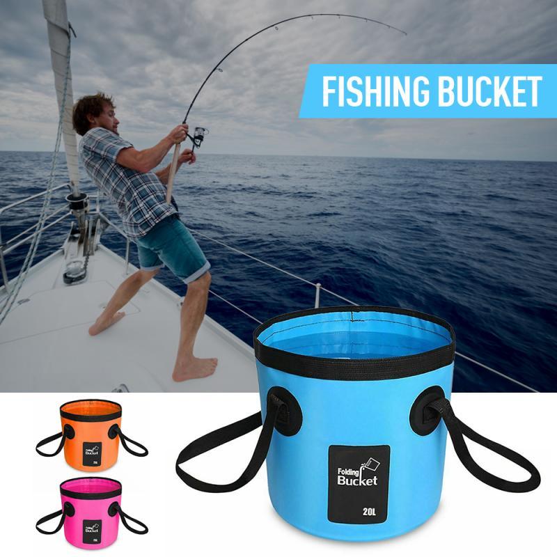 Cubo de pesca portátil, cubo de agua plegable para viajes al aire libre, caja de pesca práctica, cubeta para lavar autos, moldura integrada
