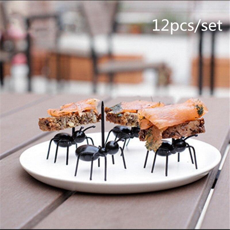 12Pc Mini Ant Fruit Fork Plastic Fruit Decoration Kitchen Accessories Kitchen Bar Kids Dessert Forks Tableware Kitchen Gadgets