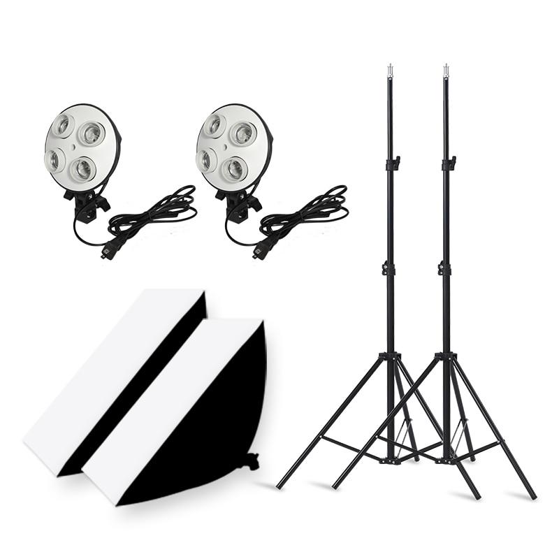 التصوير 50x70 سنتيمتر الإضاءة أربعة مصباح الفوتوغرافي Softbox كيت مع E27 قاعدة حامل لينة مربع كاميرا اكسسوارات للصور الاستوديو فيديو