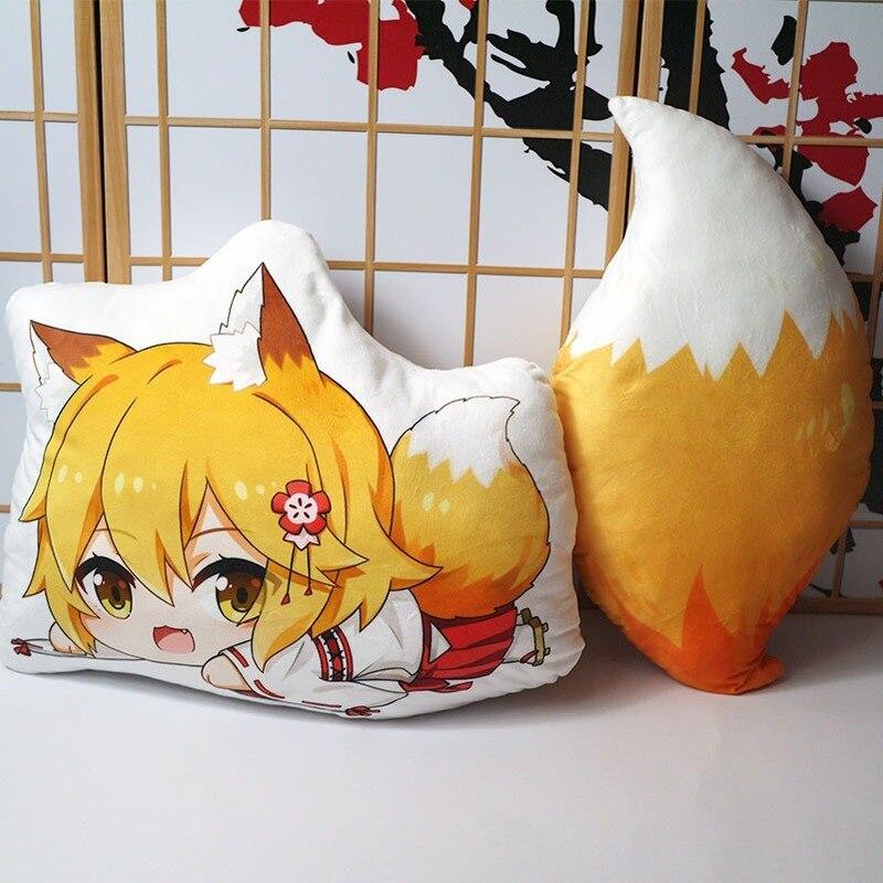 Animé The Helpful Fox tail senko-san Peluche de juguete Sewayaki Kitsune no senko-san almohada cosplay 50cm para regalo