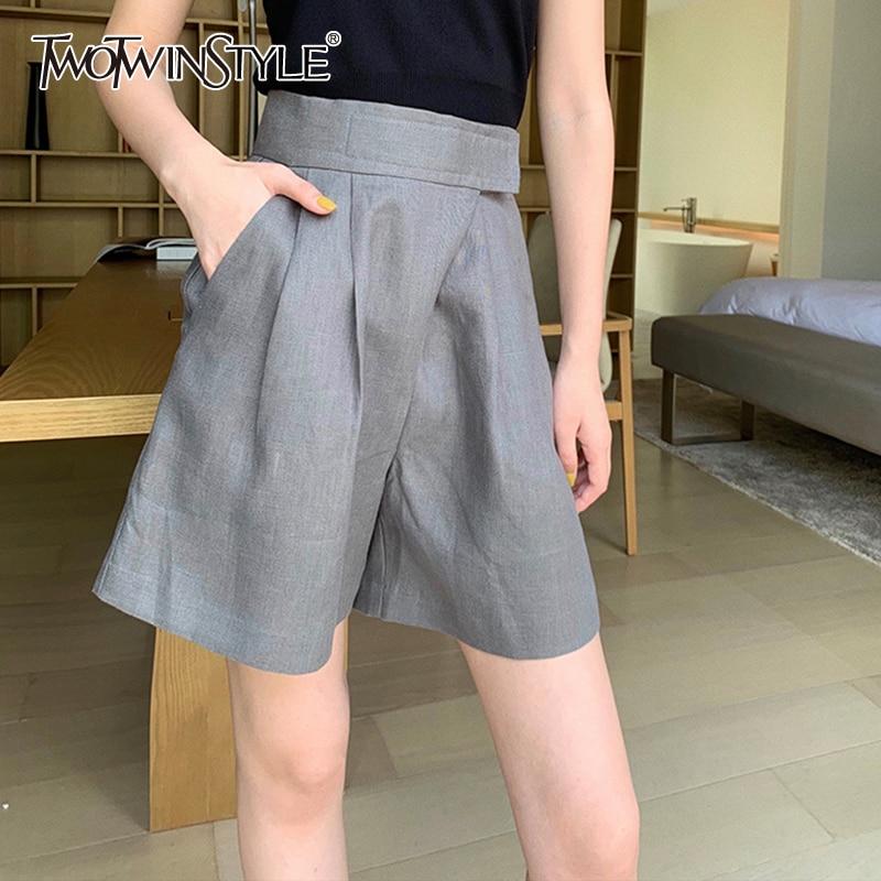 TWOTWINSTYLE, летние свободные женские шорты, высокая талия, с рюшами, большой размер, твердые, широкие, короткие, женские, 2020, модная одежда