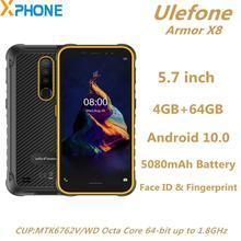 "Ulefone Armor X8 견고한 전화 4GB 64GB 5080mAh 5.7 ""Android 10.0 MTK6762V/WD Octa Core NFC 4G 네트워크 스마트 폰"