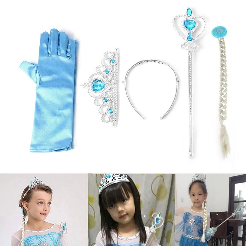 Frozen Elsa Anna Tiara Princess Crown Wig Wand Gloves Christmas Cosplay Elsa Set 19QF