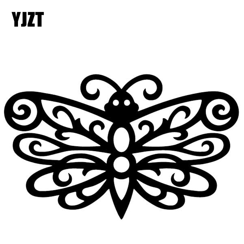 YJZT 15,6 CM * 9,6 CM mariposa decoración creativa coche pegatinas parachoques vinilo calcomanía negro/plata C4-2407