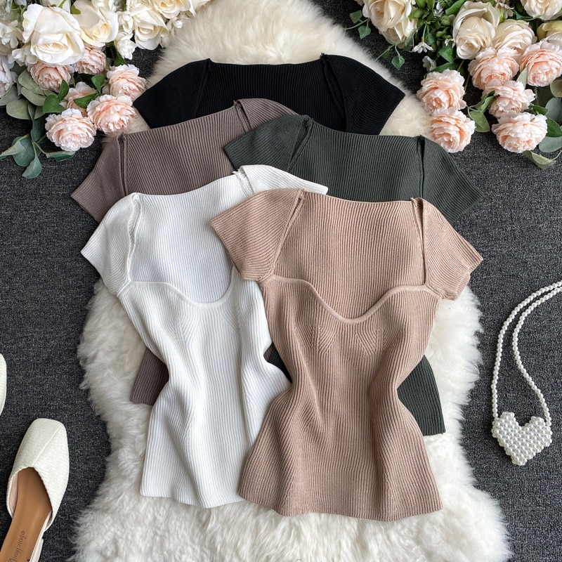 AliExpress - Women V-neck Knitted Short Sleeve Draw String T-shirts Crop Tops Girls Knitting Stretchy Cropped Sheath Tee Shirts For Female