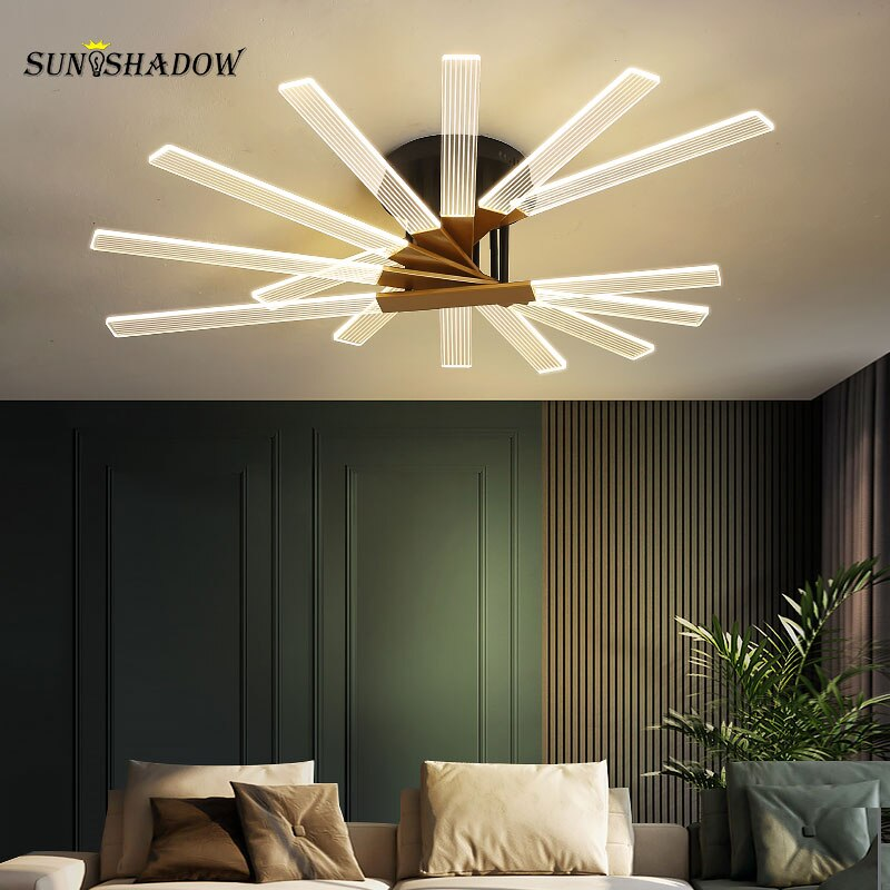Modern LED Ceiling Light Indoor Lighting Fixture For Living room Dining room Bedroom Gold Acrylic Chandeliers Ceiling Decor Lamp macarons ceiling lamps rose colors metal lamp body acrylic lamp shade colorful post modern ceiling light led lighting fixture