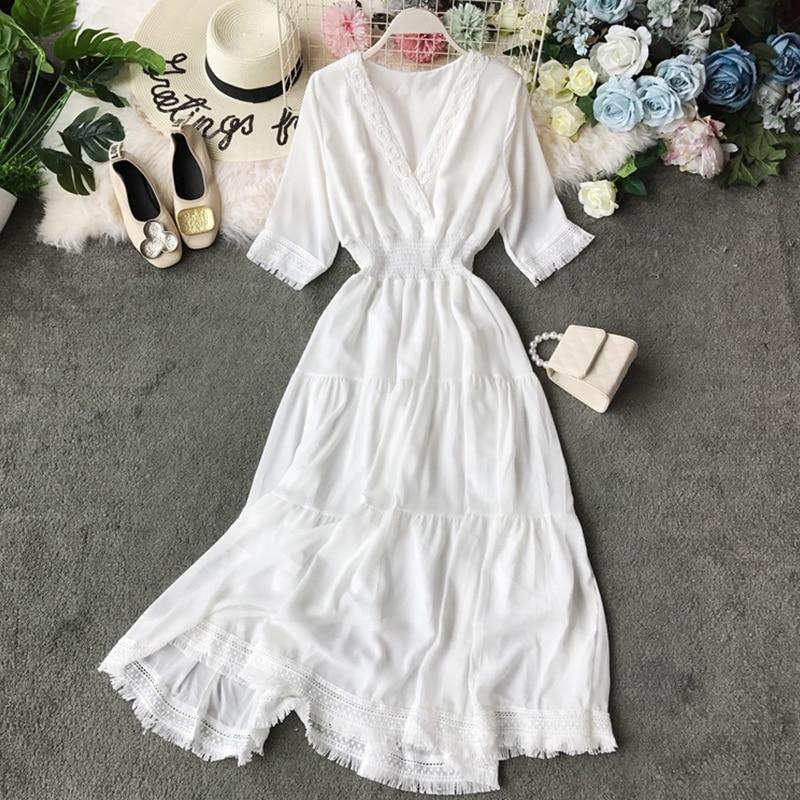 Retro Women Tassel Dress New 2020 Elegant Summer V Neck Short Sleeve A Line Bodycon Dresses Fashion Ladies White Casual Robe