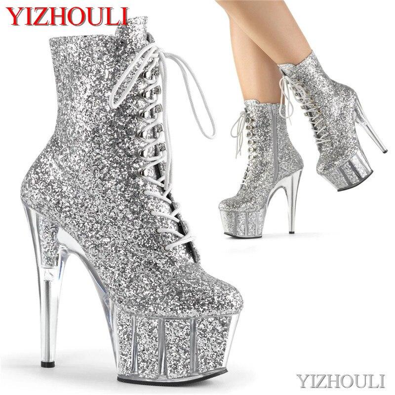 Пикантные ботильоны; Женские туфли на высоком каблуке с блестками; Туфли на шпильке 17 см; Вечерние туфли для танцев на шесте; Ботинки для сце...