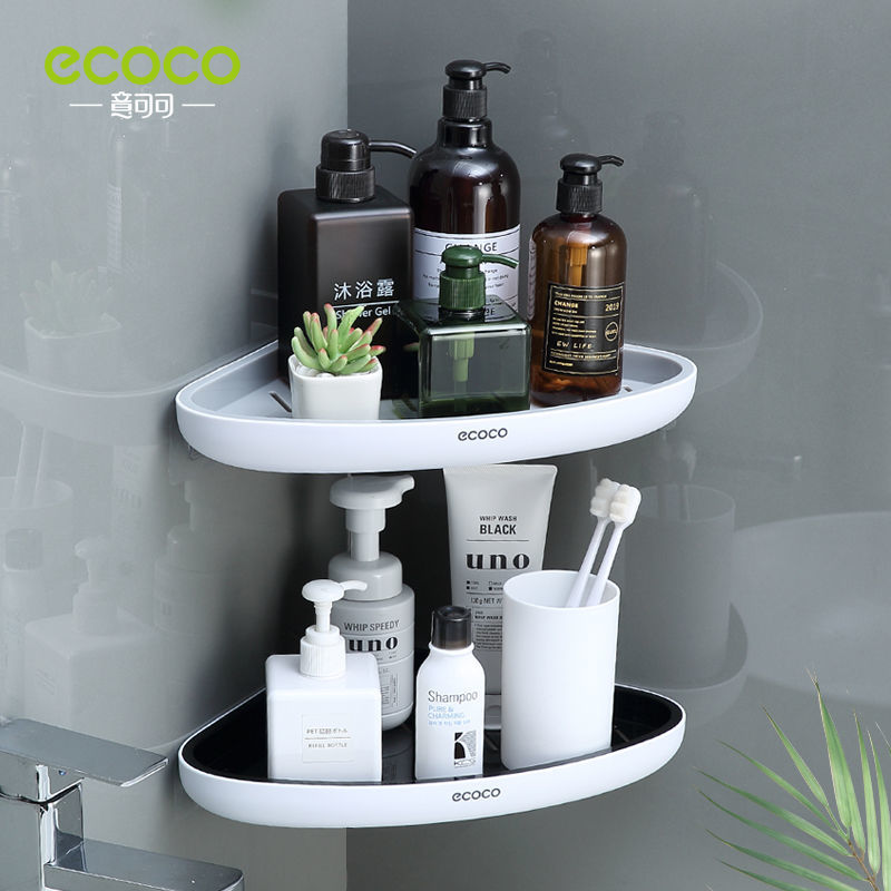 ECOCO Corner Bathroom Organizer Shelf Shampoo Cosmetic Storage Rack Wall Mounted Kitchen Household Items Bathroom Accessories
