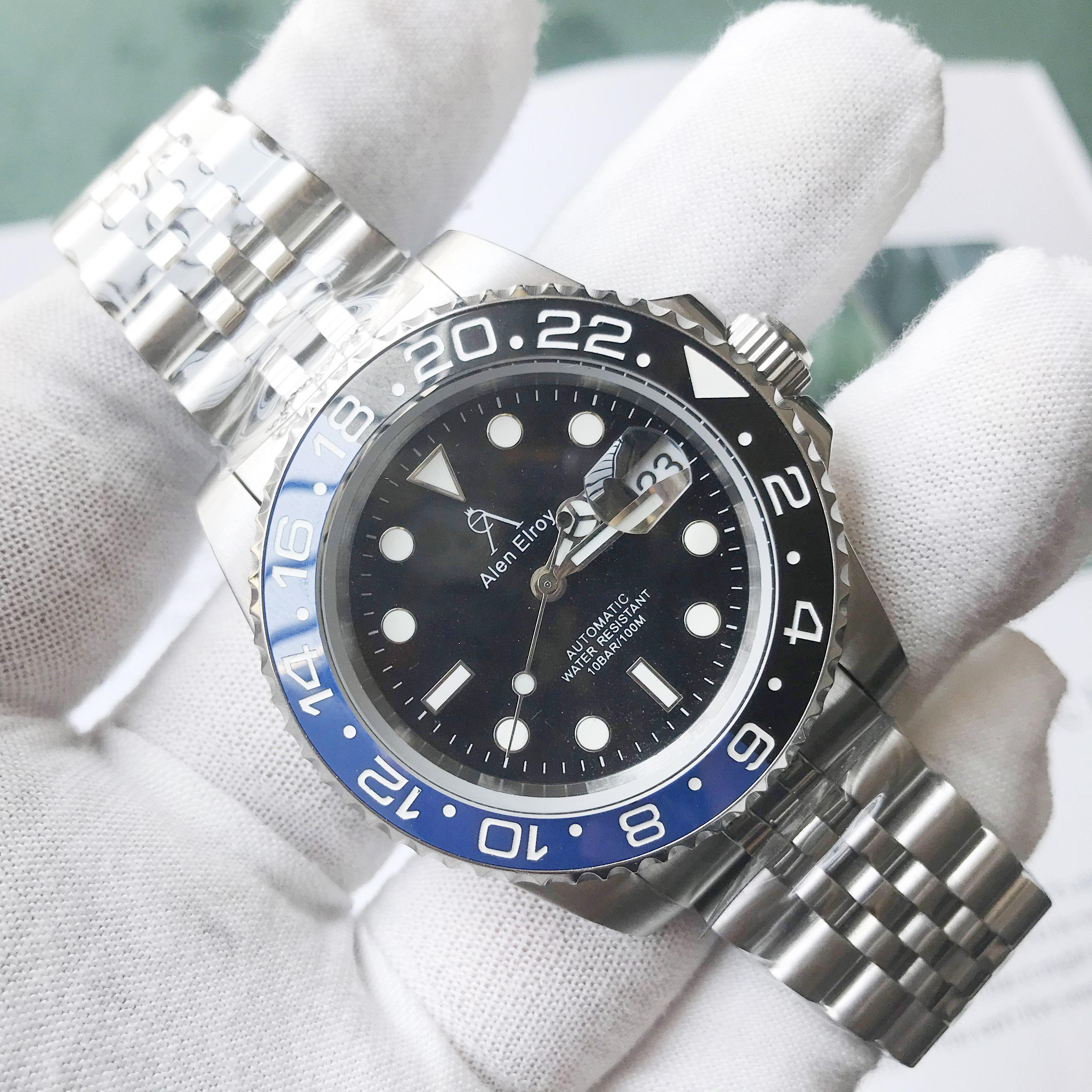 Luxury Alen Elroy Men Automatic Mechanical GMT AAA Watch ceramic bezel Sapphire Glass Men Watches reloj hombre Rolexable