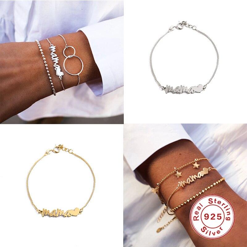 925 prata esterlina personalizado carta pulseras adjustbale charme pulseiras bangle para mulheres mãe presente de aniversário pulseira corrente