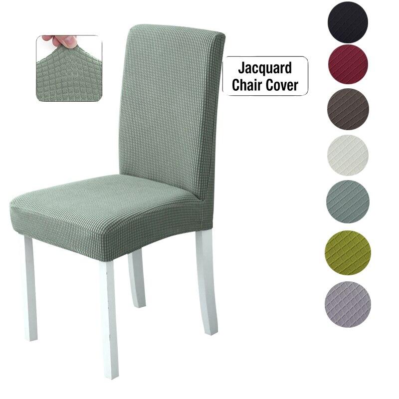 Cubierta de silla elástica Jacquard de 1/2/4 Uds., fundas de protección universales de Color sólido para silla de comedor extraíble para boda Banquete de Hotel