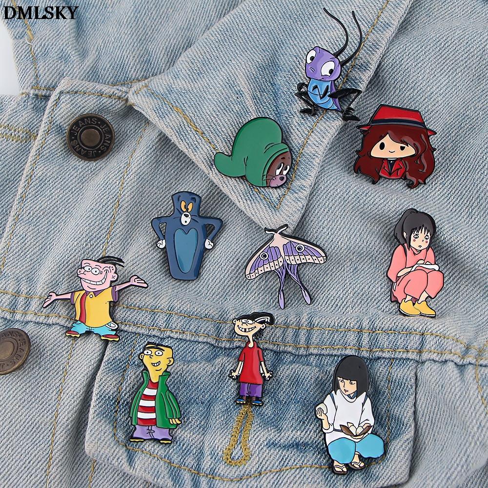 DMLSKY Anime gatos y ratón insignia pins lindo broche de dibujos animados divertido creativo regalo chaquetas mochila accesorios M4471