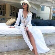 2020 Bikini Cover-ups Kimono Cardigan Sexy Hollow Out Summer Dress White Cotton Tunic Women Beach Wear Swim Suit Cover Up Q964