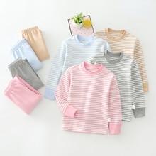 2021 Autumn Winter New Children Underwear Suit Boys and Girls Soft Elastic Base Clothing Set Stripe