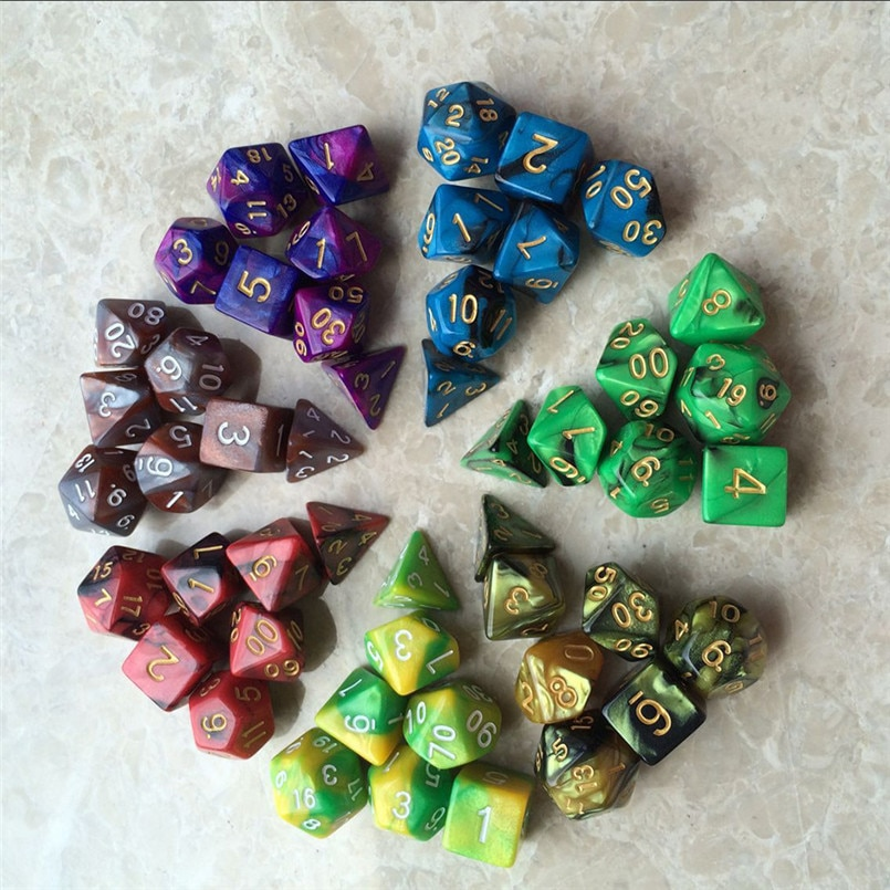 7 Uds dos-color de cara-de-dados juego poliedro multi-facetado acrílico dados de rol кубики игральные 30A19