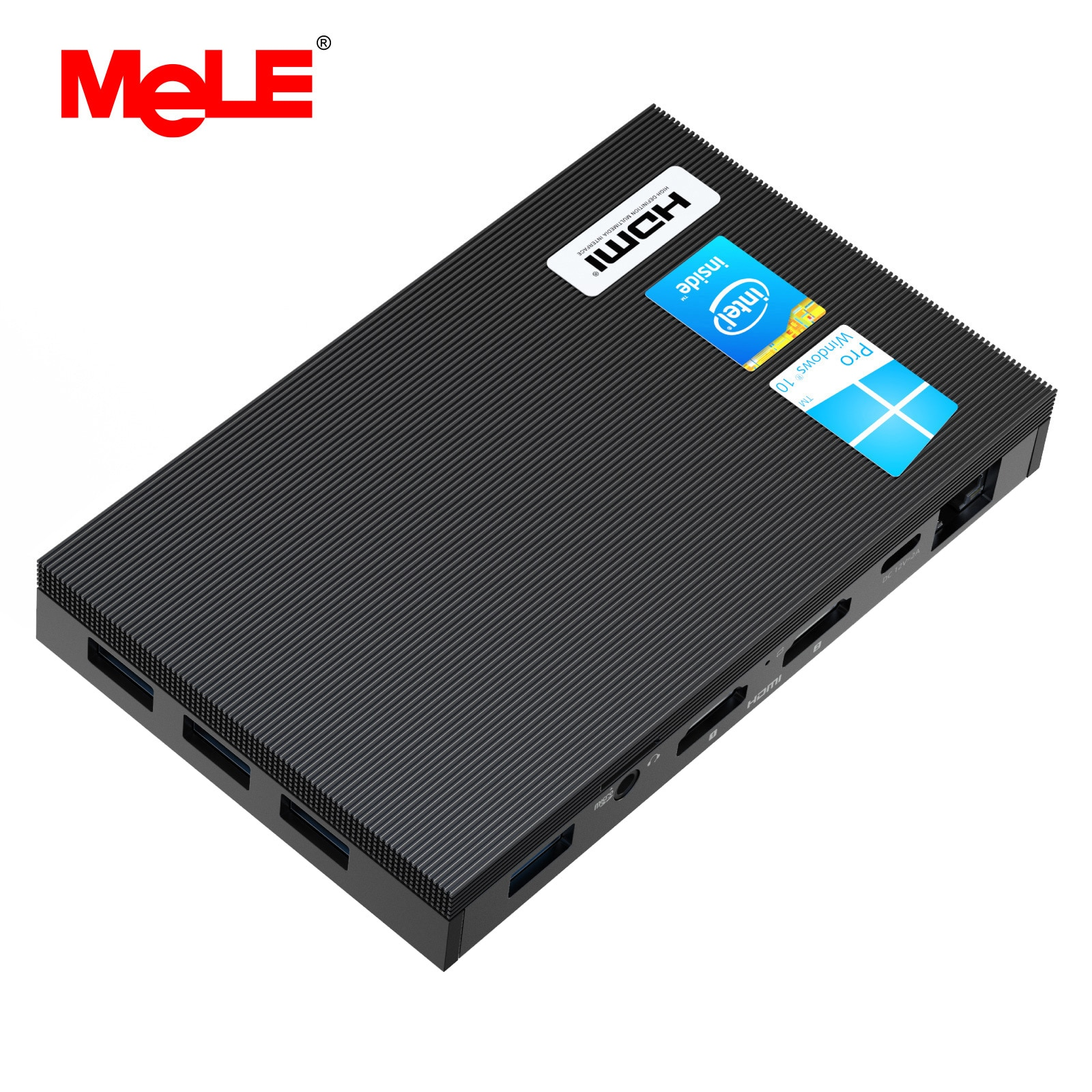 MeLE Fanless 4K Mini PC Intel Celeron J4125 Quad Core 8GB 128GB Windows 10 Desktop Computer Dual HDMI 2.4G/5G Dual-band WiFi SSD