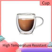 Verres expresso isolés Double mur   Tasses à café en verre Transparent résistant aux hautes températures, tasse à café/thé avec poignée