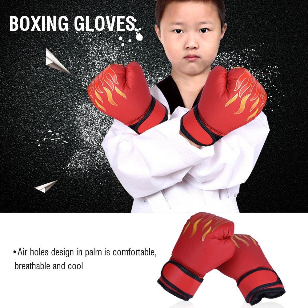 Kinder Boxen Handschuhe Kinder Unisex PU Feuer Flamme Gedruckt Kampf Spiel Hand Protector Fitness Sanda Unterhaltung Zubehör