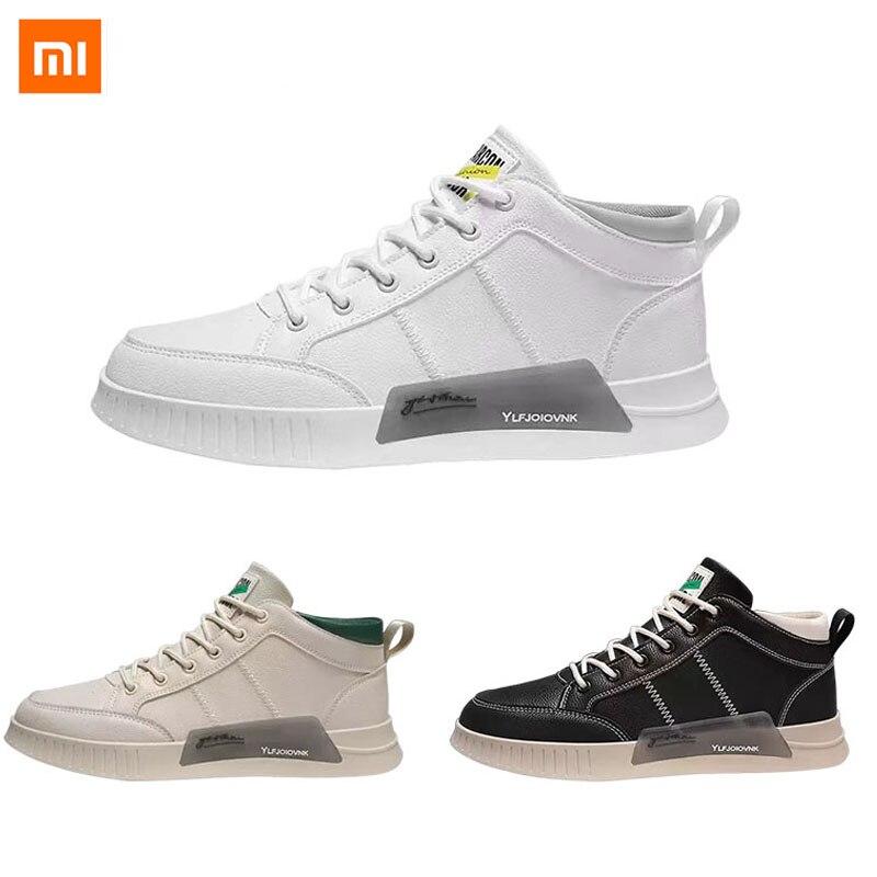 Xiaomi Youpin-أحذية رياضية عالية الجودة ، أحذية جلدية سوداء غير قابلة للانزلاق ، مقاومة للاهتراء ، نعل مطاطي أبيض ، ألياف دقيقة للمنازل الذكية
