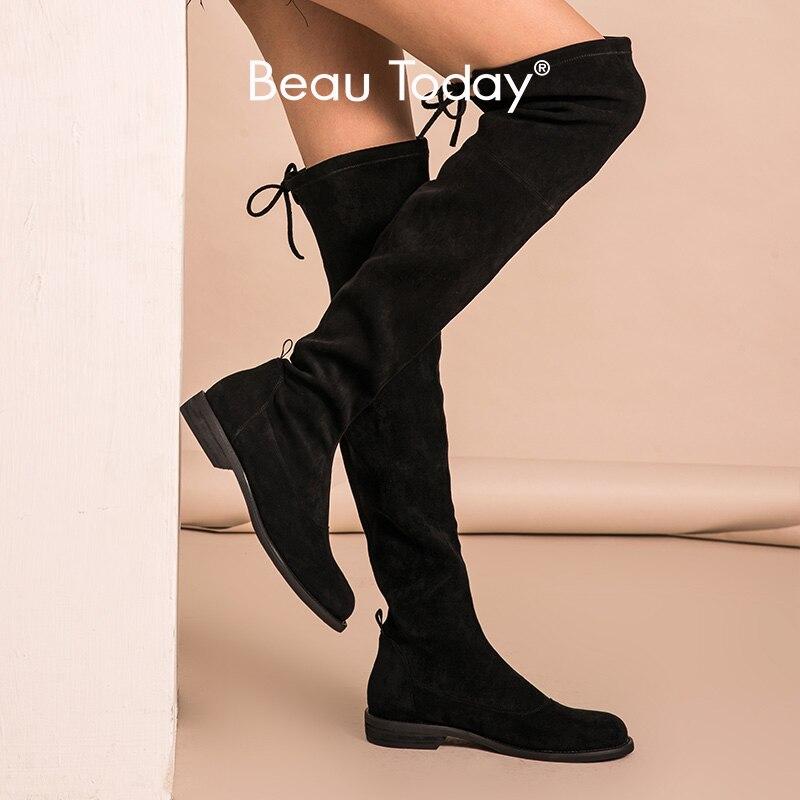 BeauToday-حذاء طويل من القماش المرن للنساء ، حذاء برباط فوق الركبة ، صناعة يدوية ، موضة خريف وشتاء 01016