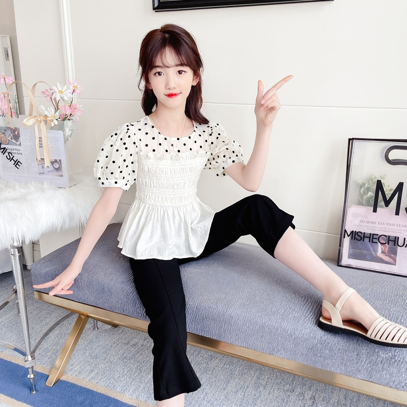 Classic Girls Summer Polka Dot Short Sleeve Clothes Suit Korean Cute Designer Clothing Teenage Kids Outfits Kids Clothes 4 To 12