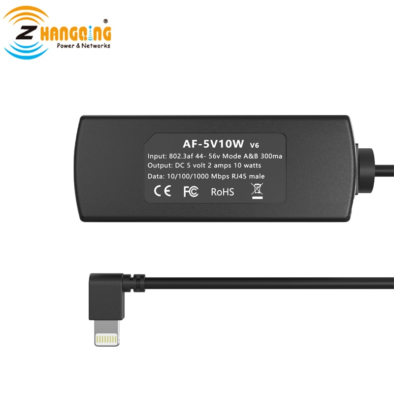 PoE Lightning Adapter 5V Charger Ethernet 802.3af power for Mounted Tablets and IPAD lightning Phone devices Power Only enlarge