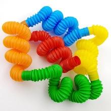5 pezzi Mini tubi Pop giocattolo sensoriale per adulti Fidget Stress alleviare giocattoli Kid autismo Anti Stress soffietto in plastica bambini spremere giocattolo
