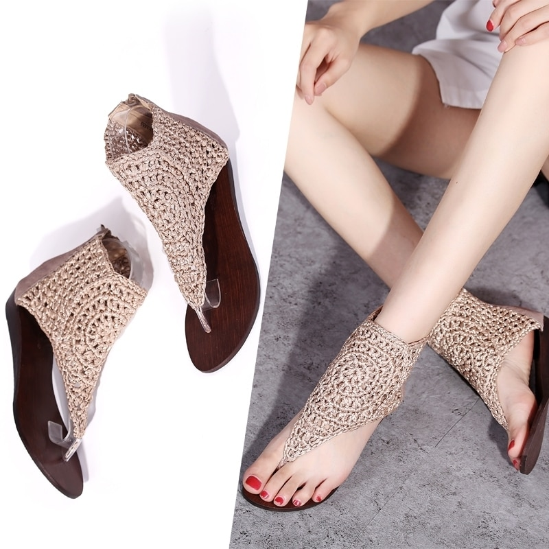 2019 New Women Sandals Fashion Flip Flops Shoes Roman Flat Summer Beach Ladies Real Leather 43