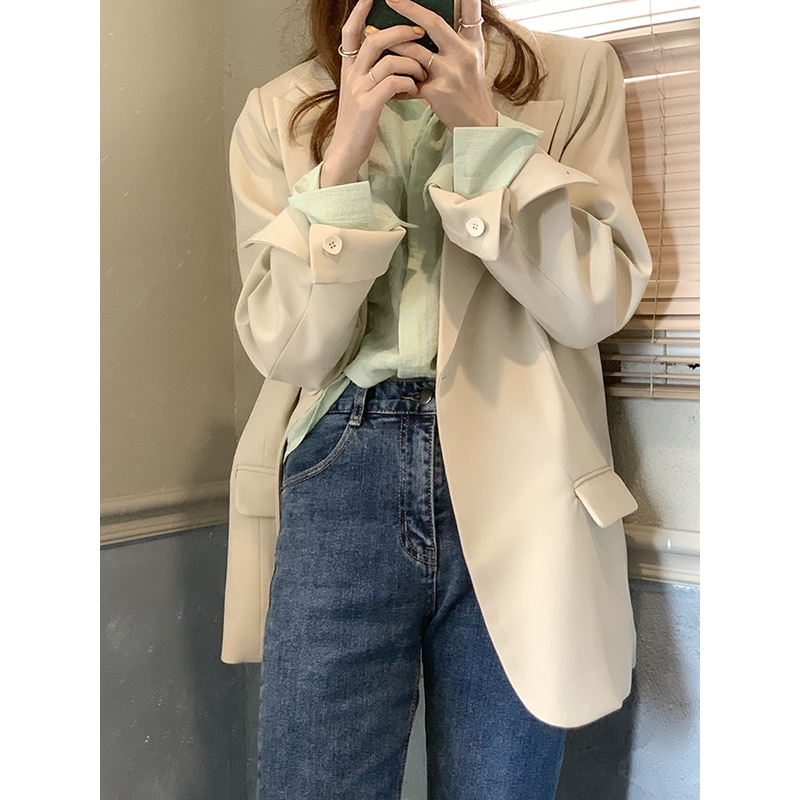 Yesroom21 Spring New Korean Style Retro Easy Matching Simple Apricot Loose Padded Shoulder Business Suit Coat