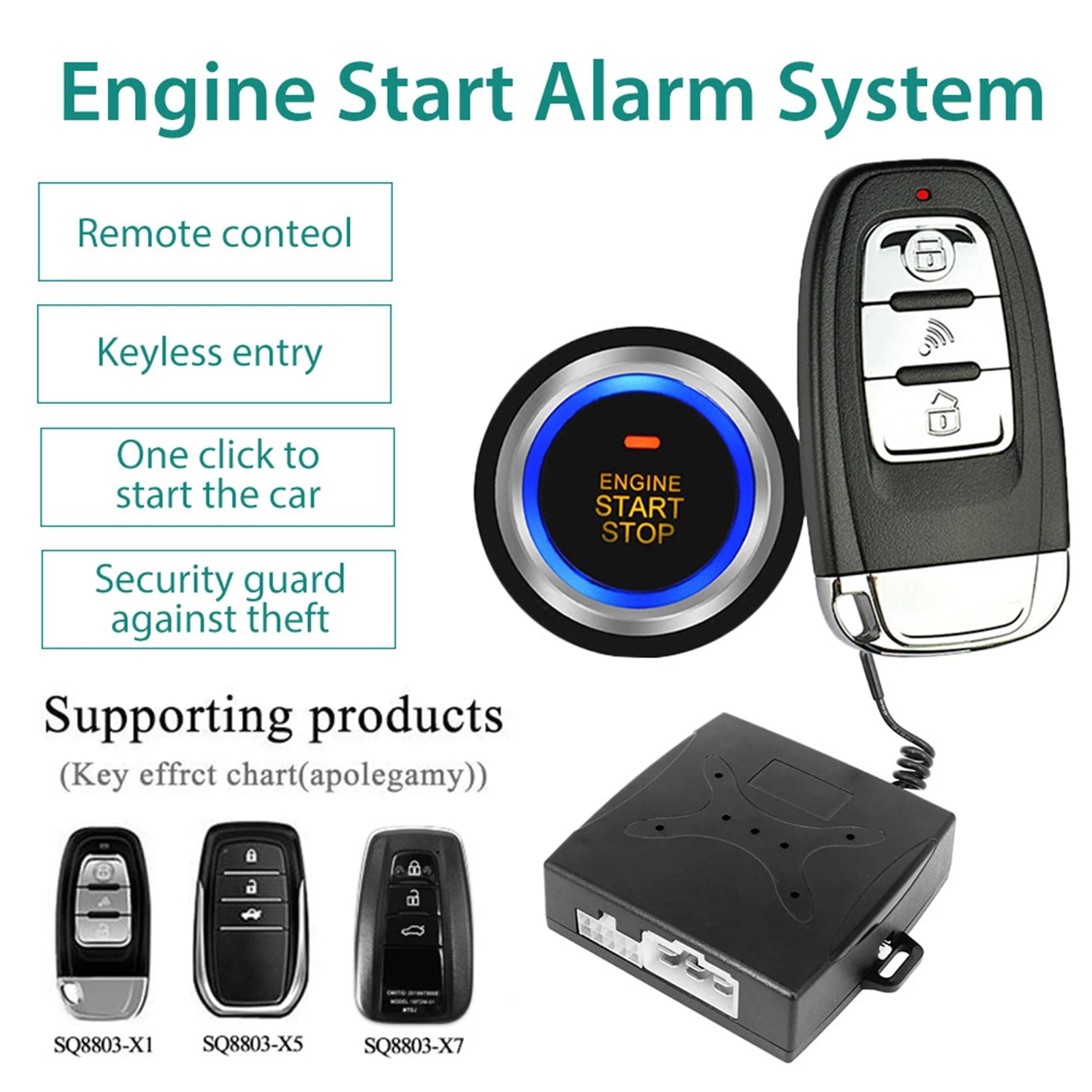 Smart One-button Start Car Alarm System Push Engine Start Stop Button Lock Ignition Immobilizer With Remote Keyless Alarm System