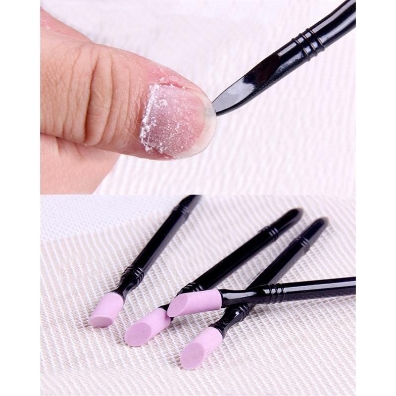 2Pcs/Set Double-end Quartz Nail Cuticle Remover Washable Dead Skin Pusher Trimmer Manicure