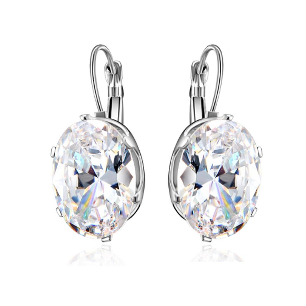 1 par agua gota plata joyería de moda gran oferta Cristal ovalado gran gota colgante de rombo pendiente San Valentín regalo Mujer